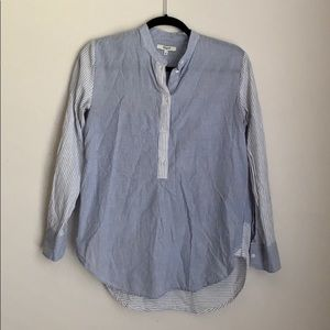 MADEWELL striped 1/2 button down blouse